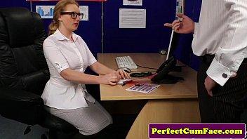 Bigtitted cum loving secretary tugging dick
