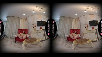 Solo teen, Kecy Hill is masturbating at home, in VR