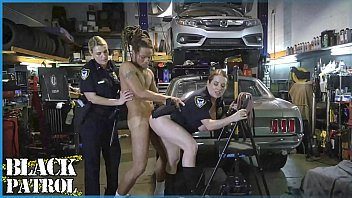 Sexy hot girl cop strips - Black patrol - busty white cops shut down a chop shop and ride big black cock