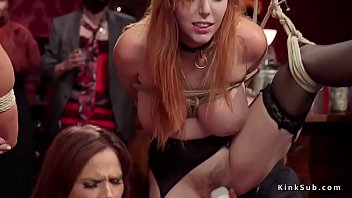Huge tits redhead and blonde at bdsm orgy