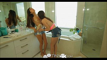 Tiny4K Teens fucked when they suck a guy's huge cock