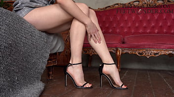 Sexy Tiny Girl With Perfect Feet Shows Her Legs In High Heels 10 min