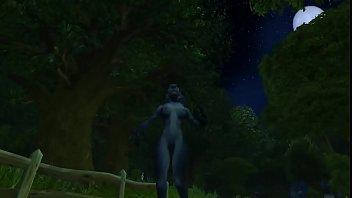 sexy worgen danceing under full moon
