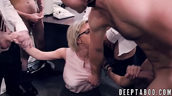 Kinky blonde MILF cum sprayed in hardcore group pussy fuck