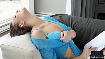 Gorgeous brunette MILF babe Muirina Fae hot striptease