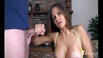 HotWifeRio Stepmom catches son jerking off