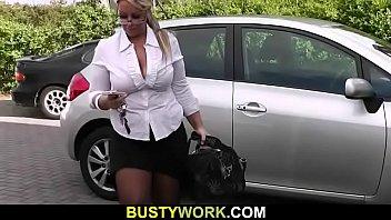Guy nails big boobs fatty at work thumbnail