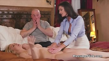 Masseur wannabes cock shared two horny MILFs
