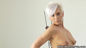 Euro milf Kathy teases us with a slow striptease