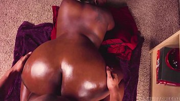 Backshots to Big Ebony Oiled Up ASS