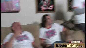 Ebony girl gang banged and covered in cum 16