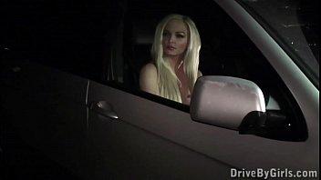 Blonde fashion model PUBLIC sex dogging gang bang orgy through a car window