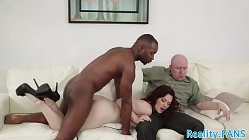 Cuckolding redhead pounded by big black cock