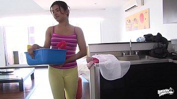 MAMACITAZ - #Camila Marin - Latina Cleaning Lady Oiled Up And Mouth Filled 13 min