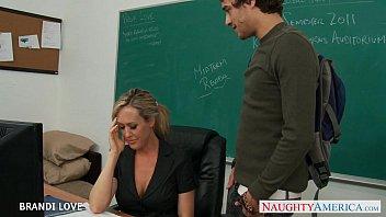 Blonde teacher Brandi Love riding cock in classroom thumbnail