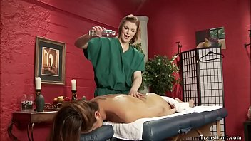 Masseuse is anal fucked by shemale