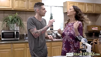 Horny stepmom sucks dick and bangs her stepson in kitchen
