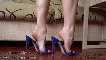 Feet In High Heels Closeup, Dangling And Dipping
