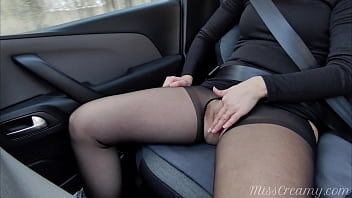 Fingering teacher's pussy in the car while driving Squirting with intense orgasm 4K - MissCreamy 8 min