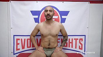 Busty Red August Nude Wrestling Fight vs Oliver Davis deep throating his cock