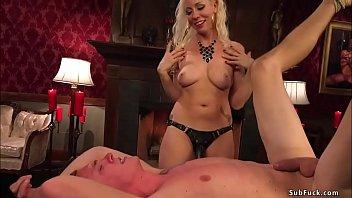 Blonde femdom pegging bound man