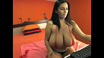 Amazing huge tits girl on webcam