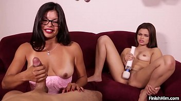 2 Latina's Having a of Fun with a Handjob