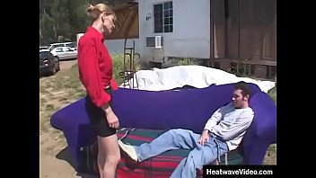 y. boy persuades a refined businesswoman to fuck on the couch