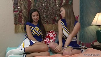Lesbian curious cheerleaders Jill Kassidy and Milana May