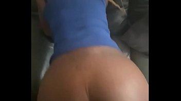 Ebony slim Krazy riding dick on couch POV