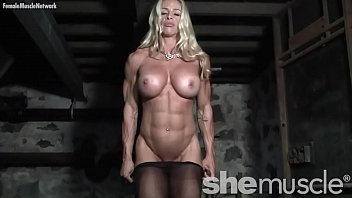 Sexy hot pecs - Naked female bodybuilder in pantyhose gets dirty