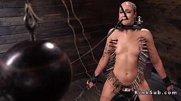 Head shaved in back - Zippered shaved slave rides sybian