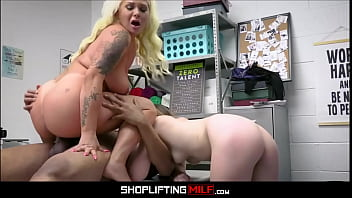 Big Ass Blonde MILF Step Mom London Rose Threesome With Shoplifter Step Daughter Everly Haze And Black Security Officer