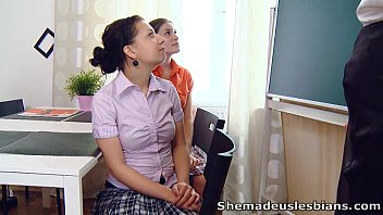 Skinny girl lesbian Marina and her sexy friend go to their lesbian teacher
