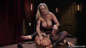 Milf dominatrix whips busty lesbian