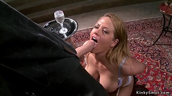 Two masters giving blonde anal training