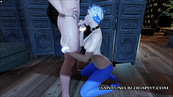Virtual Cute Blue Kitten Sucks While Getting Her Pussy Licked!