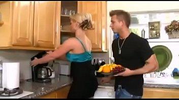 Blonde mom kitchen fuck