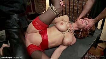 Huge tits ginger MILF anal fucked