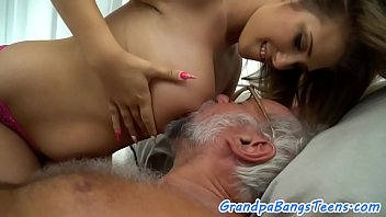Busty young babe pleasing grandpas cock