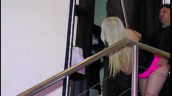 Hot blonde fucks with her brother's friend and he arrives just in time to fuck