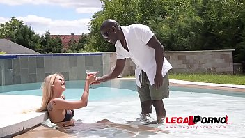 Slim blonde college babe Aisha takes on big black monster cock by the pool GP397
