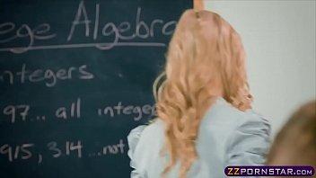 Schoolroom threesome with busty teacher and schoolgirl