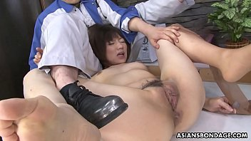 Masturbating Asian hottie gets unwanted help from the strong repairman
