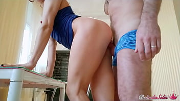Housewife Fucks On The Table And Plays With Cum In Mouth