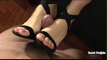 Andrea tied my dick in her high heel and gave a perfect footjob! Huge cumshot on your feet!