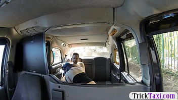 Horny couple hard boning in the taxi while filming them