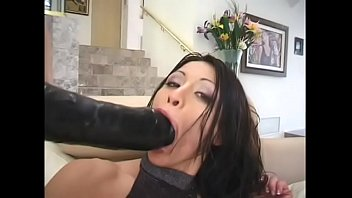 Stick then lick Black dude sticks his cock in sluts mouth and pussy then her asshole gets crempied after getting huge dildo and fat cock