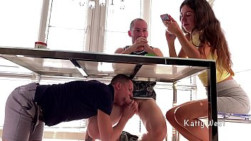 Sucked his friend dick under the table until his step sister sees. Risky Blowjob Almost Caught . Katty West, Falcon Al and Oliver Strelly 8分钟