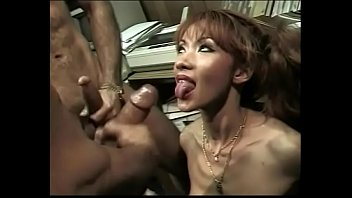 Kinky Asian bitch takes two cocks up her tight ass and pussy and eats cum
